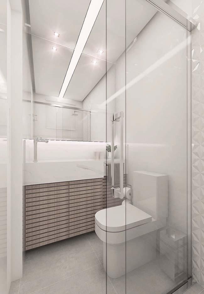 Deu branco nesse banheiro pequeno decorado