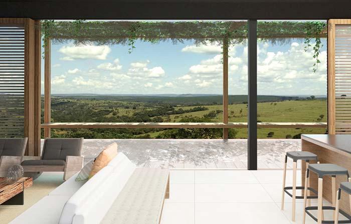 Casas de fazenda: uma vista deslumbrante da varanda