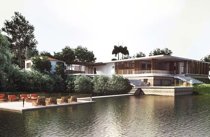 Casas de fazenda: deck sobre o lago