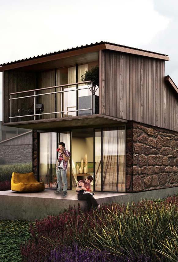 Casa de fazenda pequena e simples