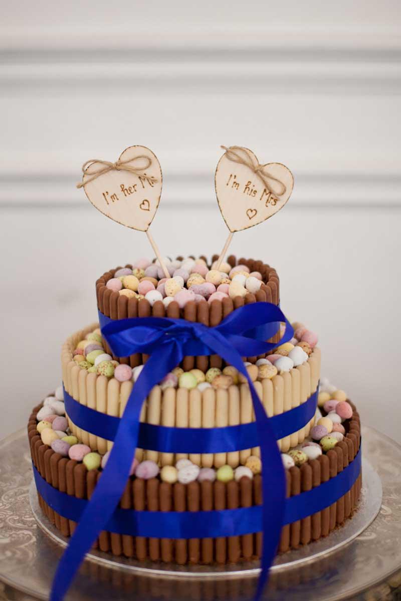Fitas de cetim para bolo de casamento simples