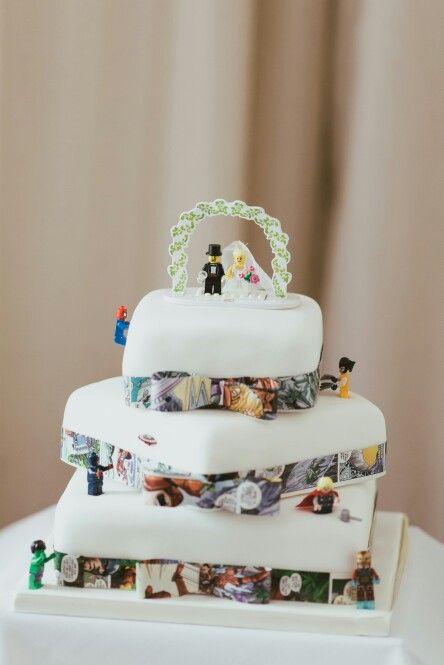 Bolo de casamento simples para fã de lego
