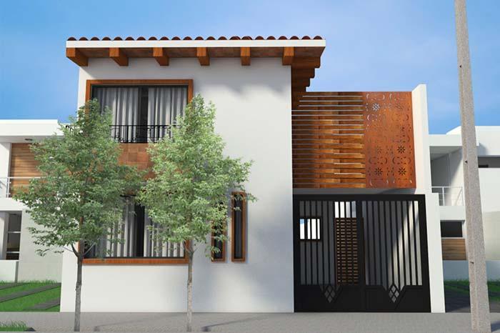 Madeira realça a arquitetura dessa casa planejada
