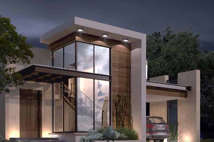 Casa planejada com fachada de vidro
