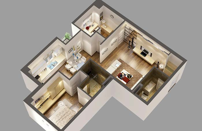 Plantas em 3D de casas planejadas