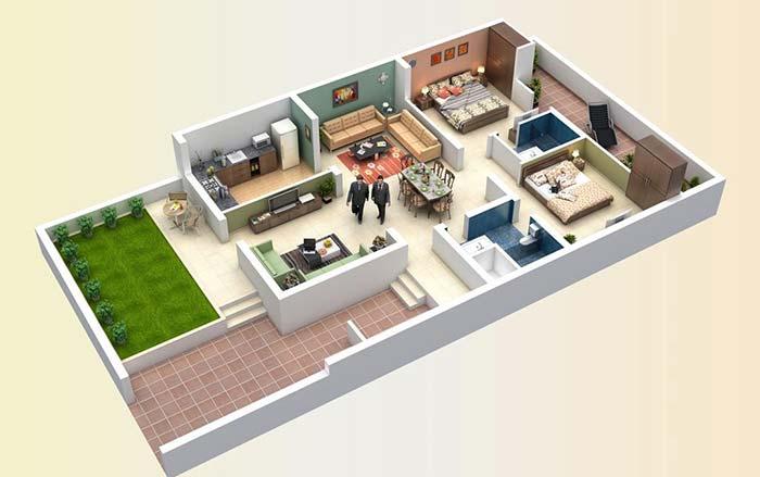 Planta permite definir com antecedência a disposição dos móveis e até as cores que serão usadas na decoração