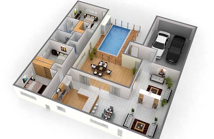 Planta de uma casa planejada com piscina