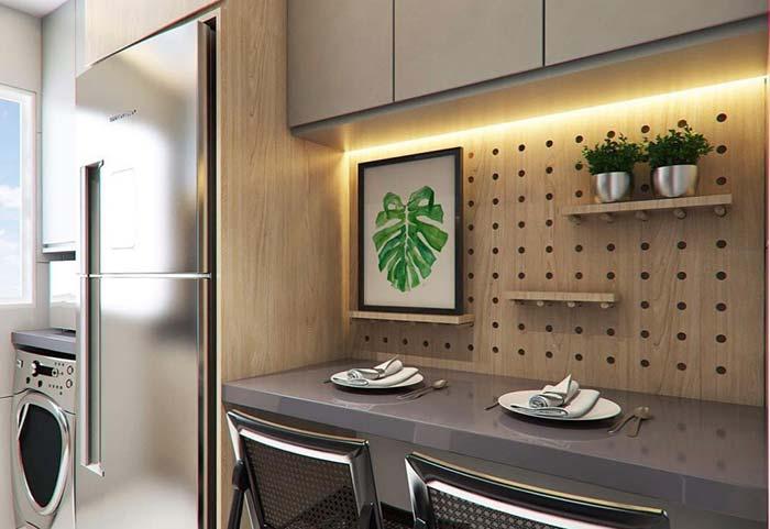 Balcão para refeições em casas planejadas
