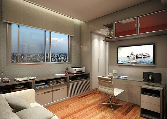 Sala e home office juntos na casa planejada