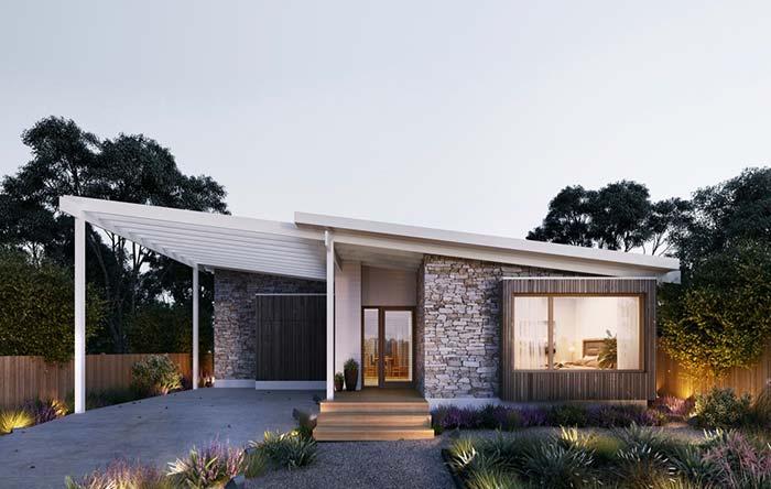 Casas planejadas: fachada rústica feita de pedras