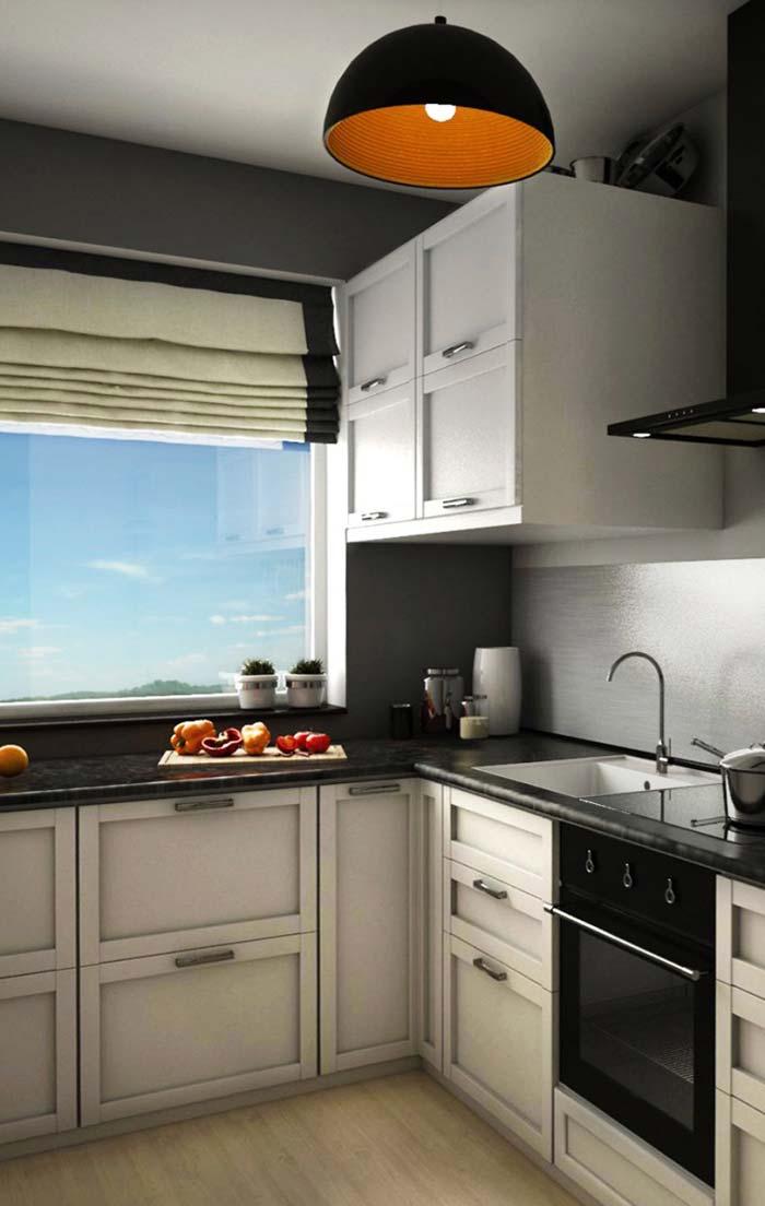 Combinação entre claro e escuro nessa cozinha