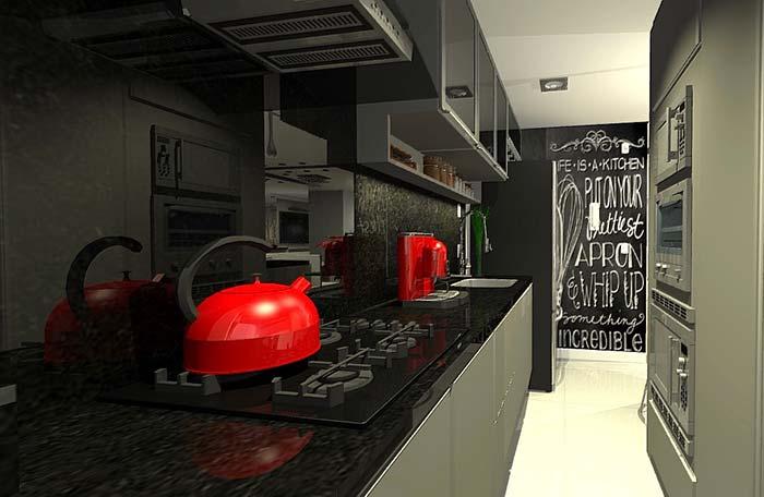 Cozinha corredor com granito Verde Ubatuba