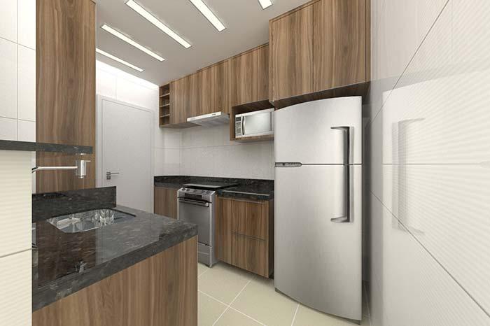 Cozinha planejada com granito Verde Ubatuba