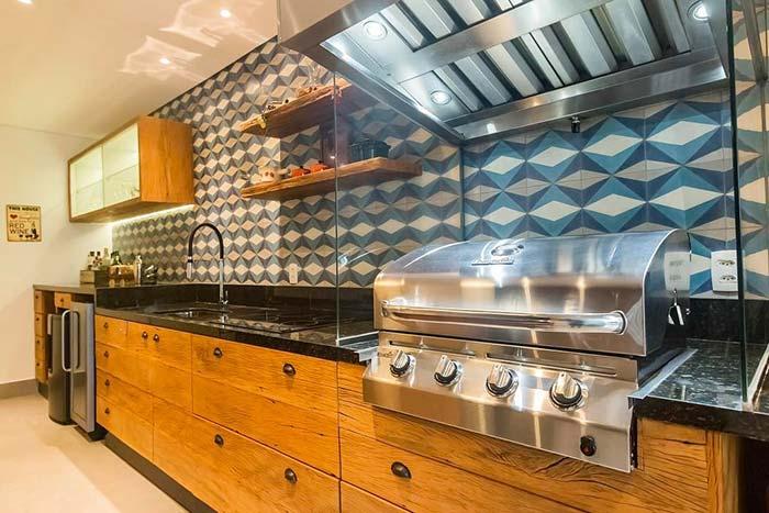Cozinha moderna e rústico com granito Verde Ubatuba