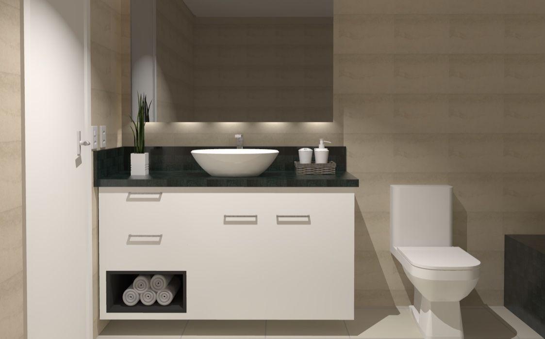 Banheiro com bancada de granito Verde Ubatuba