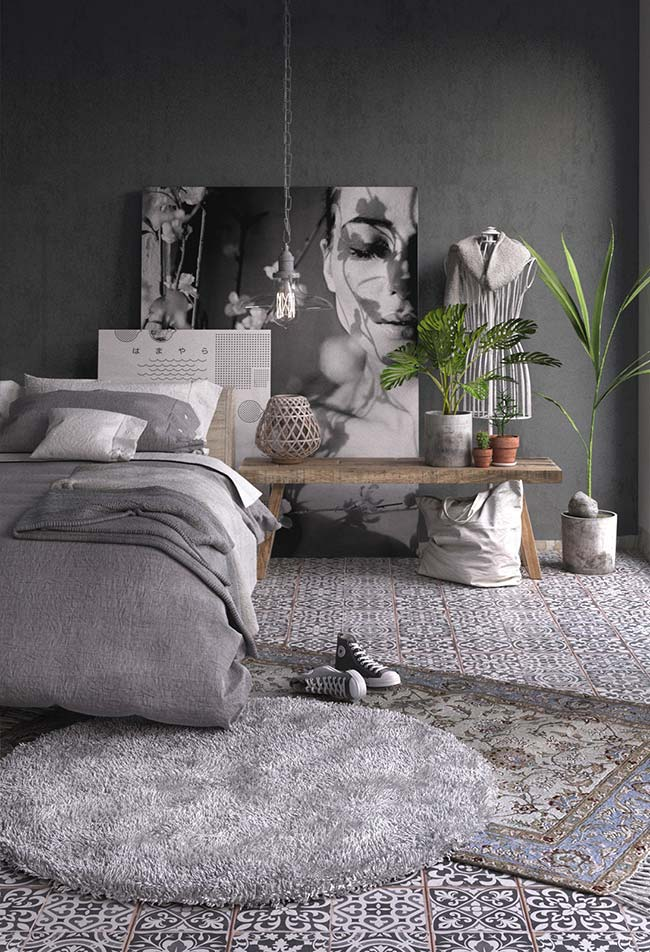 Decoração de quarto de casal num mix contemporâneo e rústico