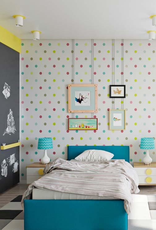 Decoração de quarto infantil cheio de cores
