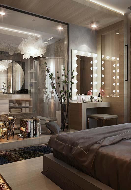 Ideia de decoração de quarto de casal integrado
