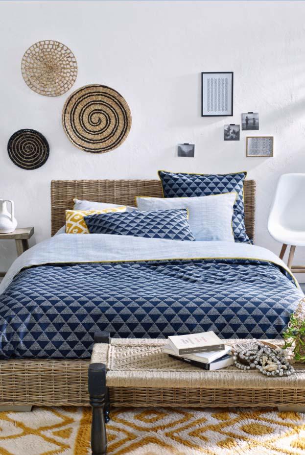 Decoração de quarto com fibra natural