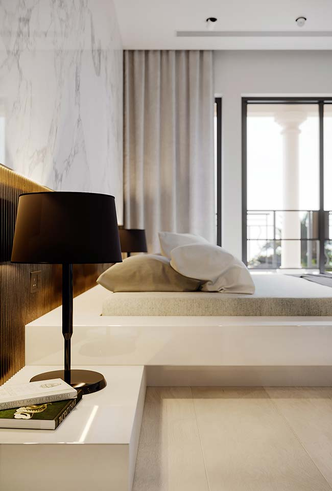 Decoração de quarto com cama planejada fixa