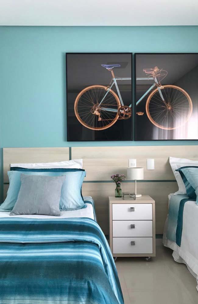 Tons de azul no quarto