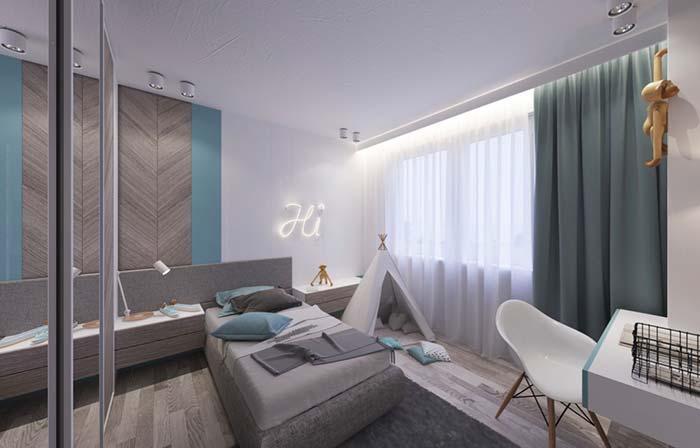 Azul e cinza na decoração do quarto