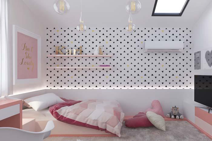 Tons de rosa na decoração do quarto