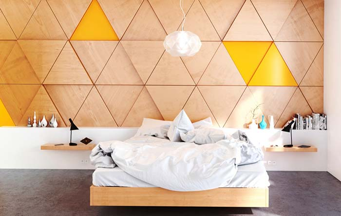 Amarelo e madeira no quarto
