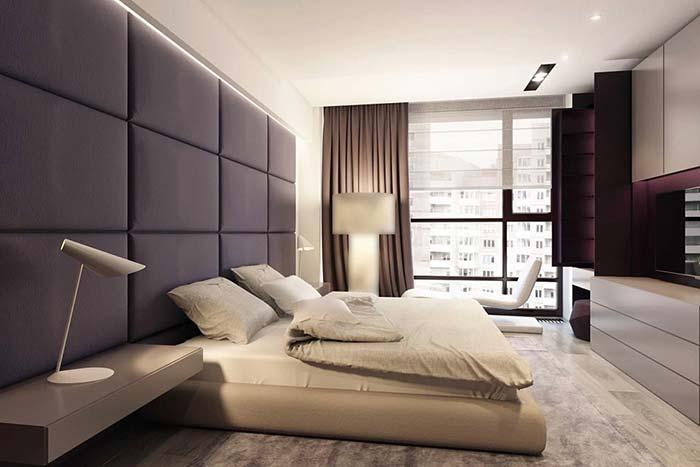 Roxo para um quarto sóbrio e sofisticado
