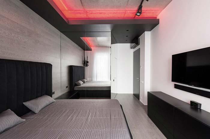 Preto e vermelho na decoração do quarto de casal