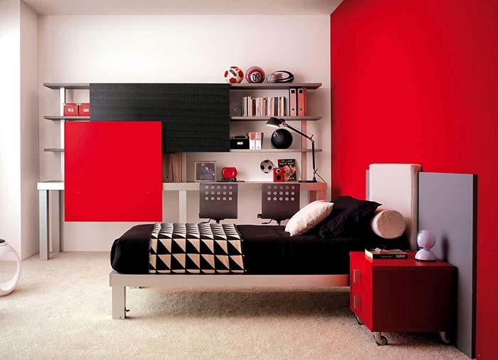 Cuidado para não cansar a vista com uma cor muito forte no quarto