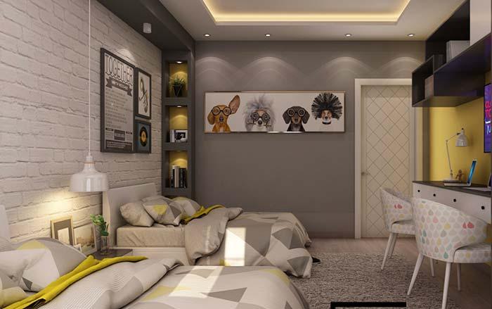 Cores para quarto com branco e cinza