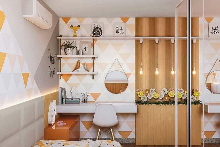 Tons suaves do laranja na decoração do quarto