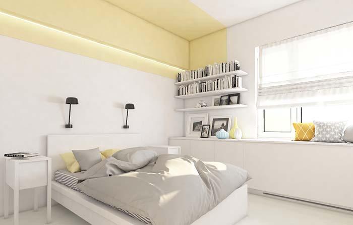 Tom claro do amarelo na decoração do quarto
