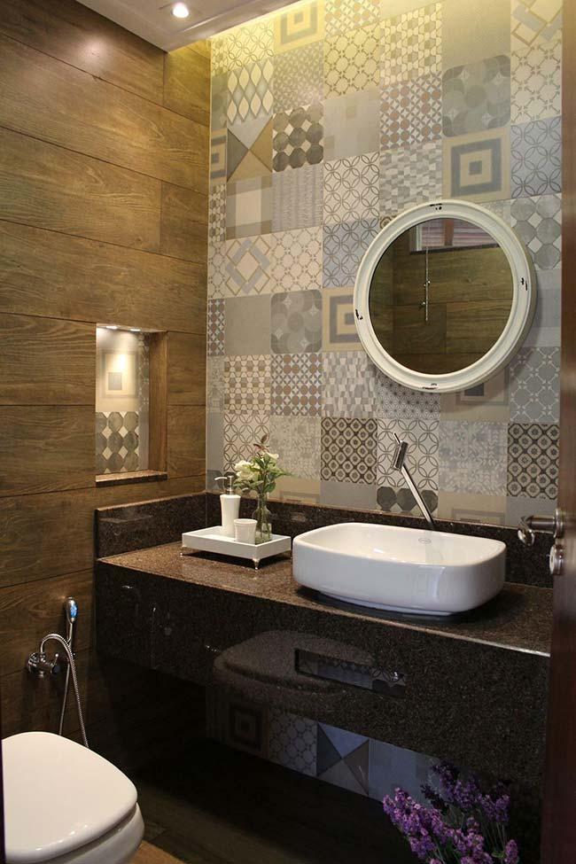 Granito Marrom Bahia para banheiro rústico