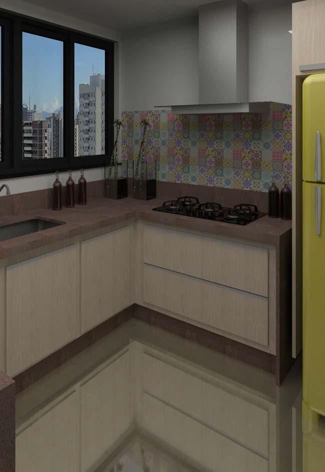 Granito marrom Castor em cozinha mais escura