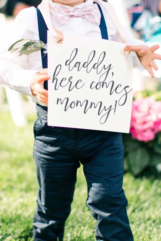 Plaquinha para o filho dos noivos