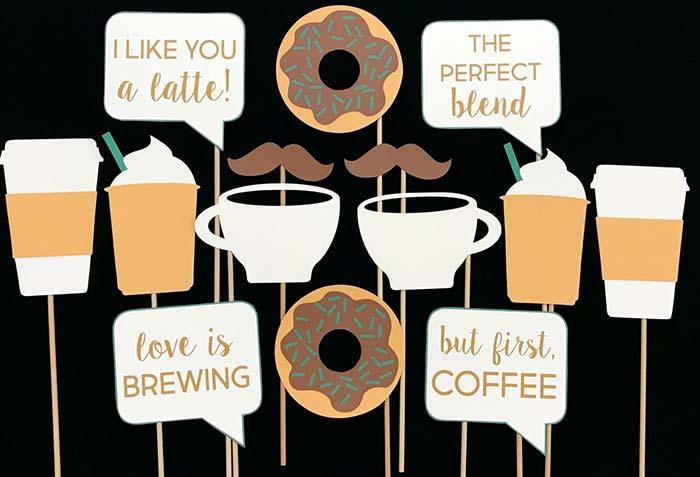 Plaquinhas para festa dos apaixonados por café