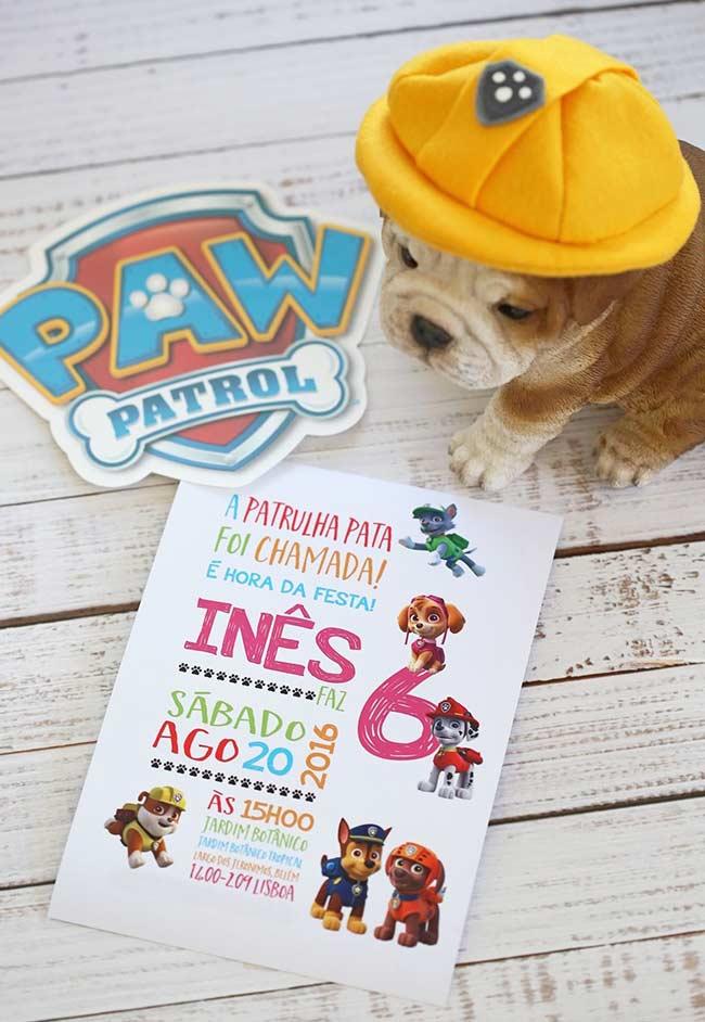 Convite incrível elaborado para festa Patrulha Canina!