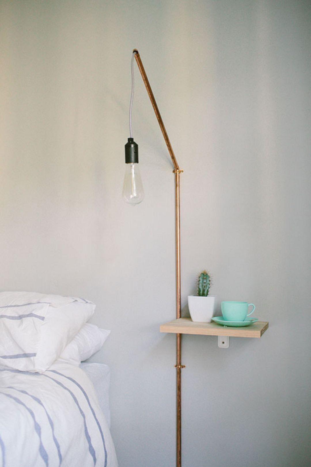 Luminária pendente de parede com caninho fino de PVC