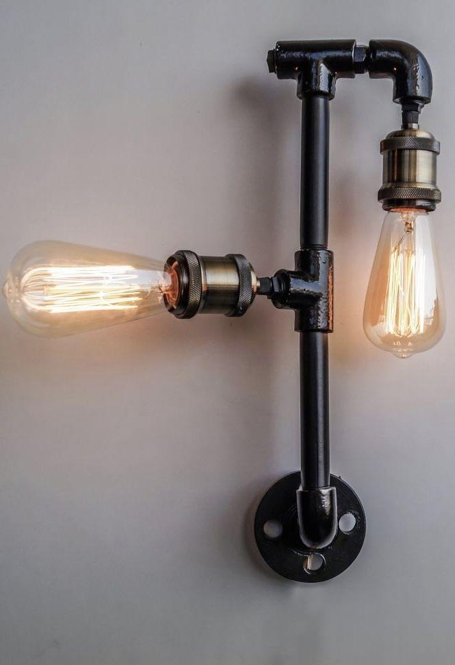 Luminária de PVC com lâmpadas de filamento de carbono