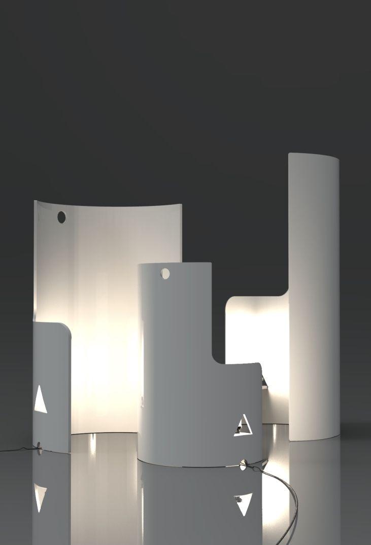 Luminária de PVC com forma abstrata