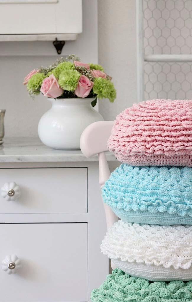 Capa de almofada redonda de crochê