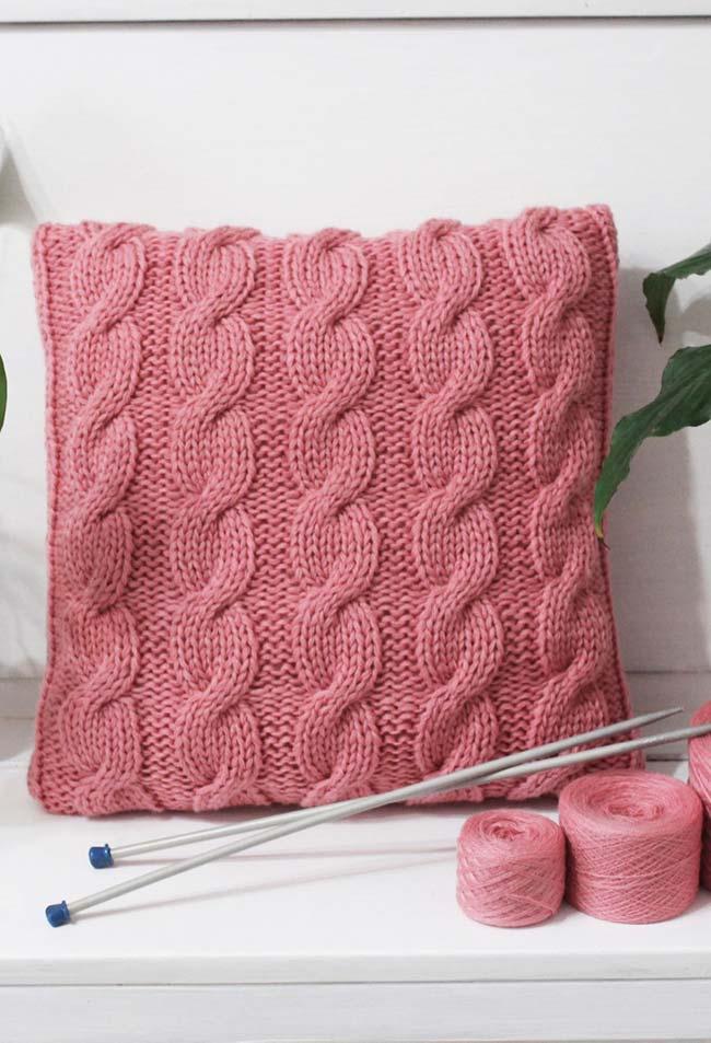 Capa de almofada de crochê trançado