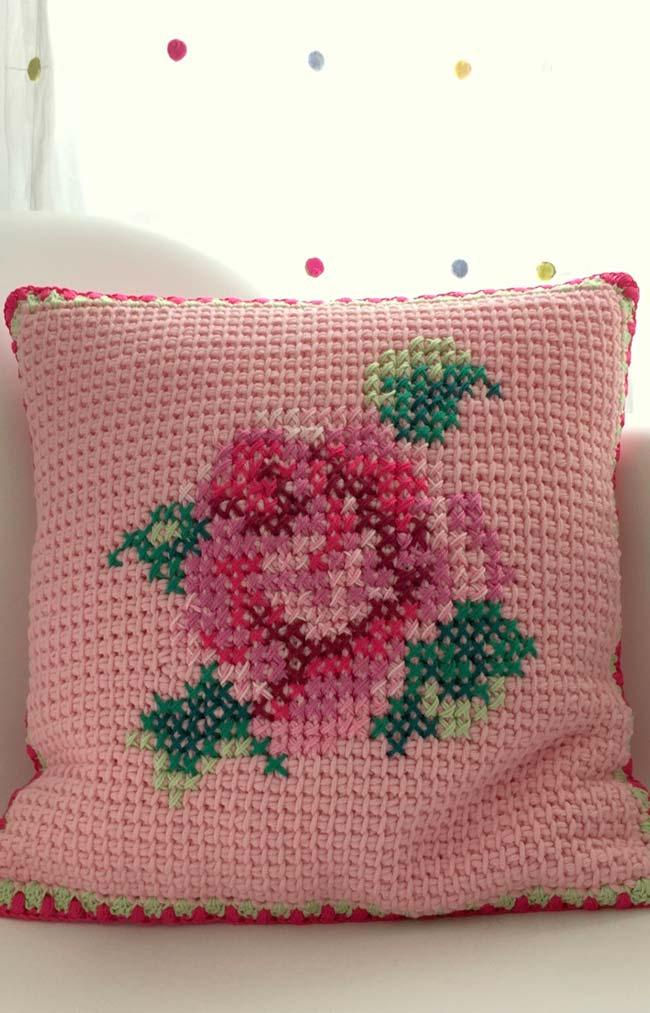 Capa de almofada com flores