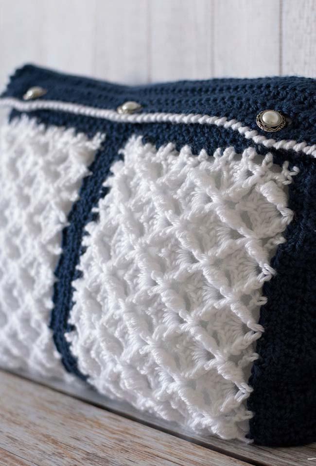 Capa de almofada de crochê macia e fofinha