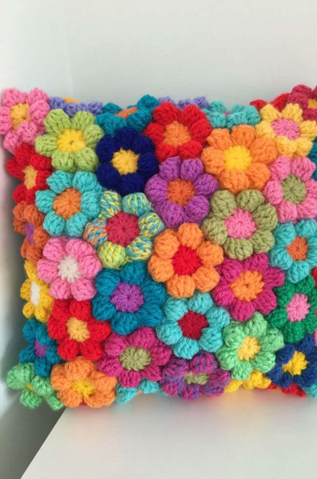 Capa de almofada de crochê primavera