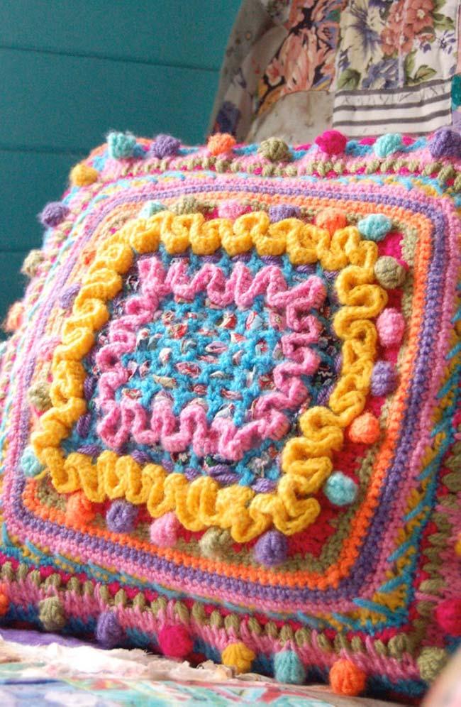 Capa de almofada de crochê para decoração rústica