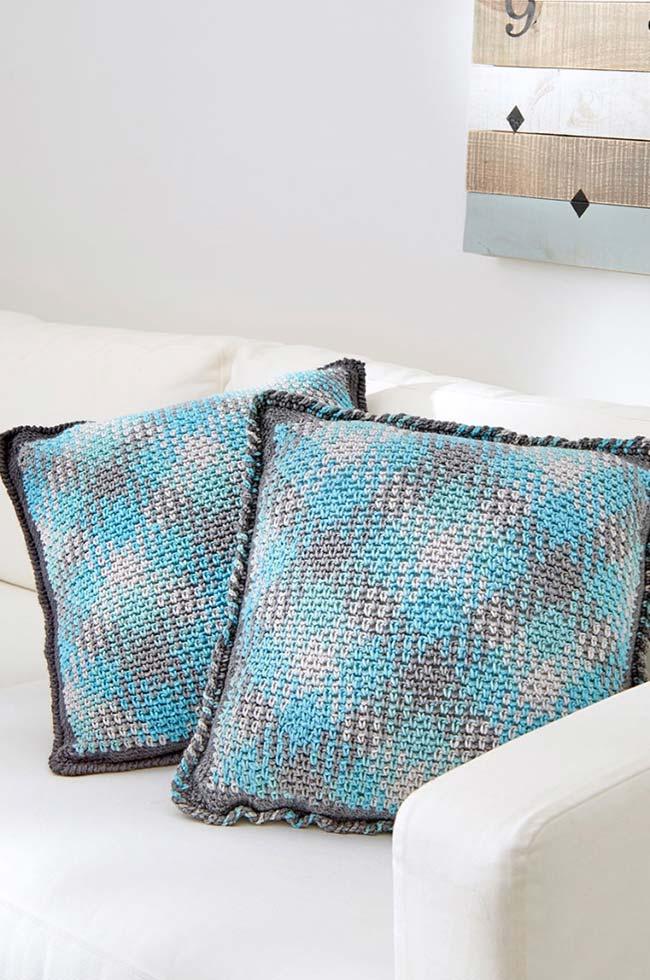 Capa de almofada de crochê moderna