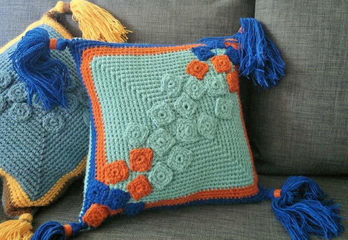 capa de almofada de crochê simples